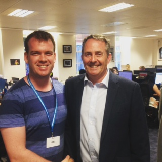 Mitch at Tory HQ with the UK Secretary of International Trade, Liam Fox